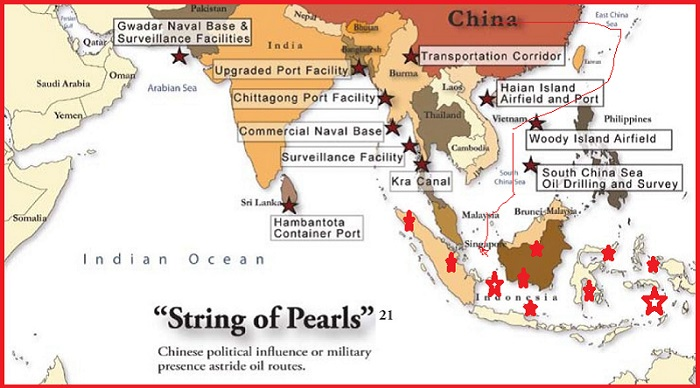 Program Maritime String Of Pearl menuju Indonesia? (Ilustrasi). Foto: Indian Current Affairs