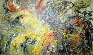 "Lukisan karya Pelukis Affandi, ""Ayam tarung"" (1979), Media : Oil on Canvas (91cm X 136cm) harga Rp.250-350 Jt/Ilustrasi nusantaranews poem/ Foto tedysoetarno via JAVADESINDO Art Gallery via"