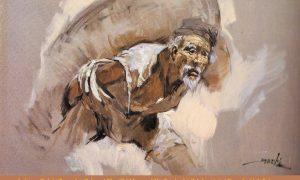 "Lukisan ""Lelaki Tuan dan Beban / The Old Man and His Burden"" | Pelukis/Artist Basoeki Abdullah (Cat Minyak di Kancas/Oil on Canvas - 80cm x 130 cm) tahun 1992/Arsip SelArt/Nusantaranews"