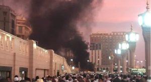 Kondisi saat bom mengguncang parkiran Masjid Nabawi/Fotovia Samaa.tv