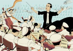 """Dishormoni orkestra pembangunan antara pusat dan daerah""/Ilustrasi karya Kiagus Aulianshah via beritategar.id"