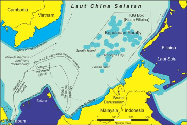 Peta Laut China Selatan/Foto Istimewa/Nusantaranews