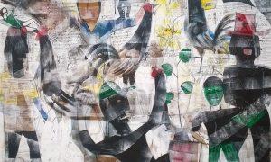 "Lukisan ""Nyanyian Pagi"" karya Pelukis Bali, Made Wiradana (140x180cm__mixed media _ 2014)/Foto Nusantaranews"