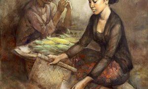 "Lukisan ""Penjual jagung bakar,"" 100cm X 80cm, Oil on canvas, 1990/Karya Pelukis Rustamadji/Sumber blog.senirupa"