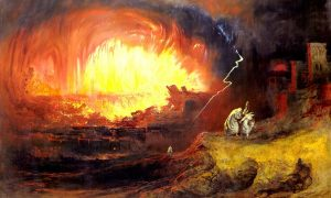 "Ilustrasi ""The Destruction of Sodom and Gomorrah"" karya John Martin, 1852. Lukisan ini menggambarkan kisah pemusnahan kota Sodom dan Gomorah/ Ilustrasi Nusnatanews via wikipedia"