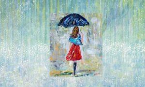 "Gadis ditengah Hujan di muka lukisan ""Watter Dance,"" tanah yang sedang dilanda hujan - Karya anak autis usia 6 tahun, Iris Grace/Ilustrasi SelArt/Nusantaranews"