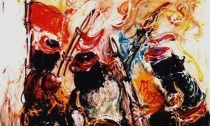 """Lukisan Karya Affandi """"Para Pejuang"""" (1972), Ukuran : 100cm X 135cm, Media : Oil on Canvas/Sumber Istimewa"""