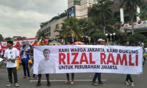 Aksi Alegoris KOPAJA support Rizal Ramli untuk Jakarta tanpa Air Mata/Foto nusantaranews/ucok