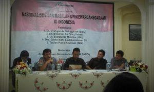 "Syahganda Nainggolan sedang memaparkan materi dalam diskusi ""Nasionalisme Dan Masalah Dwikewarganegaraan di Indonesia""/Foto nusantaranews/Leman"