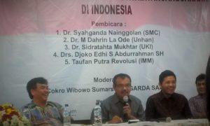 """Dahrin La Ode Memberikan materi saat Diskusi Politik """"Nasionlaisme dan Masalah Dwikewarganeraan di Indonesia""""/Foto nusantaranews/Leman"""