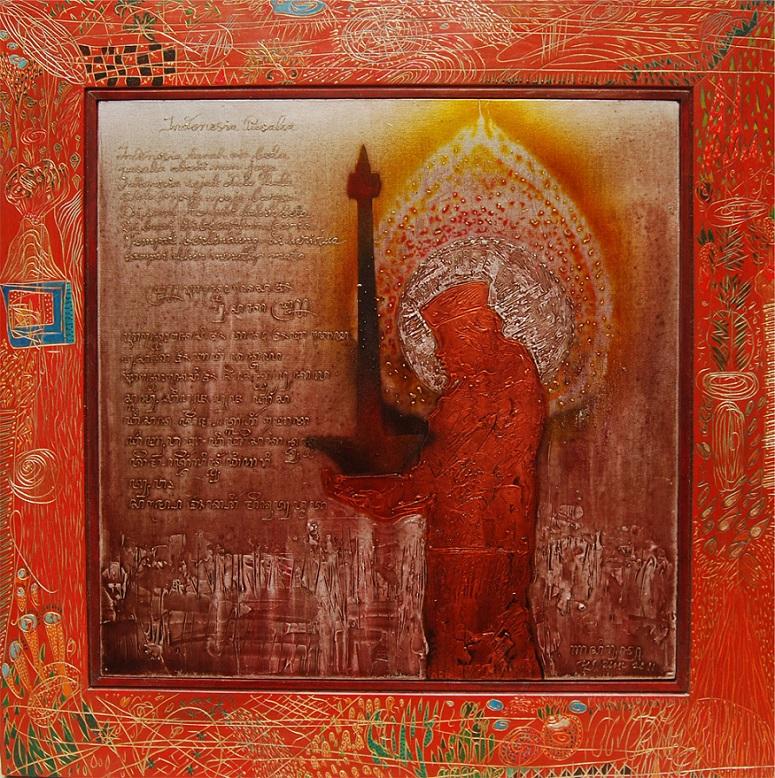 "Luisan Nasirun, ""Indonesia Pusaka"", Oil on Canvas Mixed Carving Wood 68.5 x 68.5 cm 2011/Ilustrasi Istimewa"