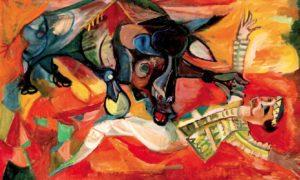 The Fallen Matador, 1963, Oil on canvas: 60 x 90 cm, lukisan Sudjana Kerton