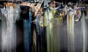 Pintu Sakral (2007), 200 x 300 cm (2 panel), acrylic on canvas, karya I Nyoman Erawan (Bali)