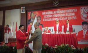 Hendropriyono saat dikukuhkan sebagai Ketua Umum di KLB PKPI 2016/Foto nusantaranews/AHB