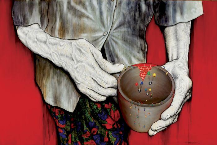 "Lukisan ""Ibu Pertiwi Menghimbau"" (2008), 210 x 307 cm, acrylic and charcoal on canvas, Karya Laksmi Shitaresmi (Yoyakarta)"