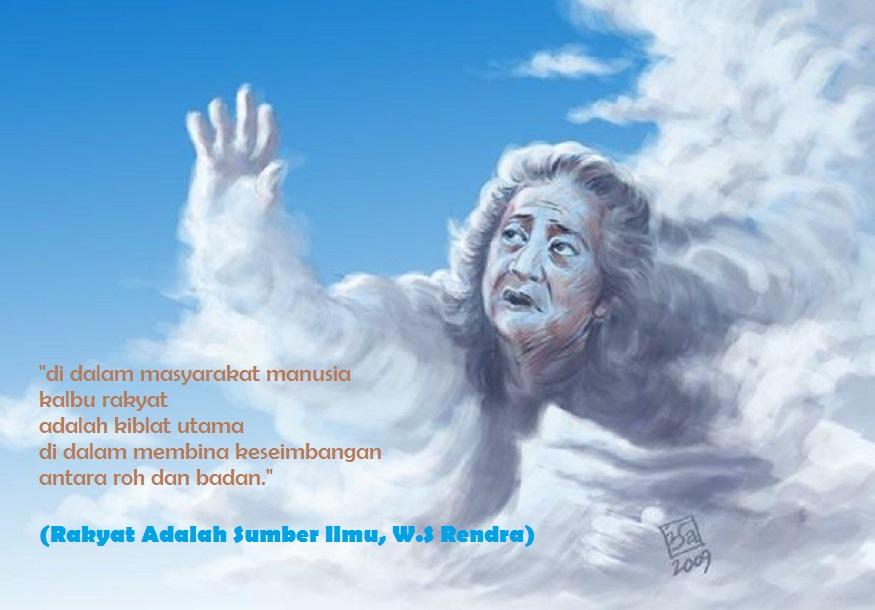 Ilustrasi Rendra Baca Sajak di Awan/Ilustrasi nusantaranews/latar by isahorreg