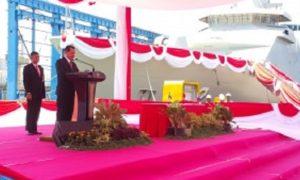 Sekjen Kemhan Laksdya TNI Widodo Sambutan saat Peluncuran Kapal PKR-105 Pesanan Kemhan Demi Perkuat Armada Perang TNI AL/Foto: Dok. Kemhan