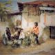 "Lukisan Gerard Pieter Adols, ""Kampong Hoekse Soerabaia"", Semarang, 1899 - The Netherlands, 1968 - Via Catalogue Masterpiece"