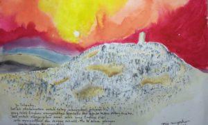 """Lukisan """"Saat Wukuf di Arofah"""", CA_1409_08, gambar 40×29 cm, frame 60×49 cm, koleksi Rono Harsodjo (galerilukisancaknug1)"""