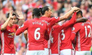 Skuad MU berpesta gol ke gawang Leicester/Foto Istimewa