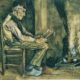 Vincent van Gogh, Farmer Sitting on Fireside, Reading, 1881, watercolour/Sumber Lukisan: Istimewa