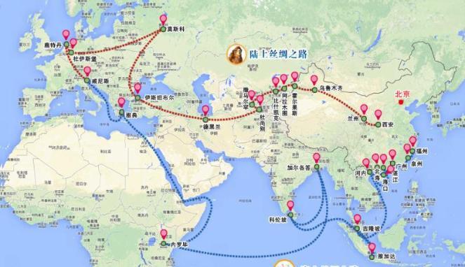 peta jalur sutra dan jalur sutra maritim China (Istimewa)