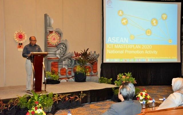 Sambutan Kepala Pusat Kelembagaan Internasional Ikhsan Baidirus pada Pembukaan ASEAN ICT Masterplan 2020/Foto: Dok. Kominfo