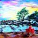 """Lukisan Dinding """"Gadis Bergaun Merah""""/Foto: aliexpress.com"""
