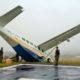 Pesawat Asia One Terjungkal di Bandara Ilaga Papua/Foto : IST