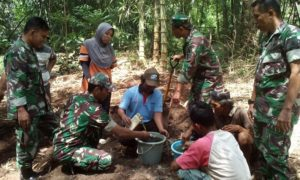 Babinsa Ramil 0824/14 Bersama PPL dan Pok Tani Membuat Pupuk Organik/Foto Sis24/Nusantaranews
