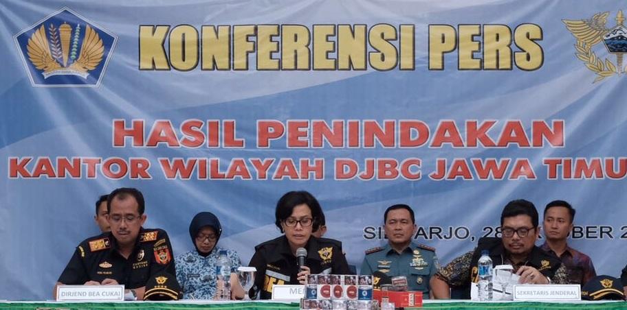 Meneteri Keuangan Sri Mulyani Lakukan Konferensi Pers Hasil Penindakan Kantor Wilayah DJBC Jawa Timur I. Foto Dok. Kanwil Jawa Timur