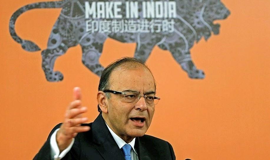 """Menteri Keuangan India Arun Jaitley saat memberikan sambutan dalam forum """"Invest in India"""" di Beijing, China, 24 Juni 2016/Foto: Reuters"""