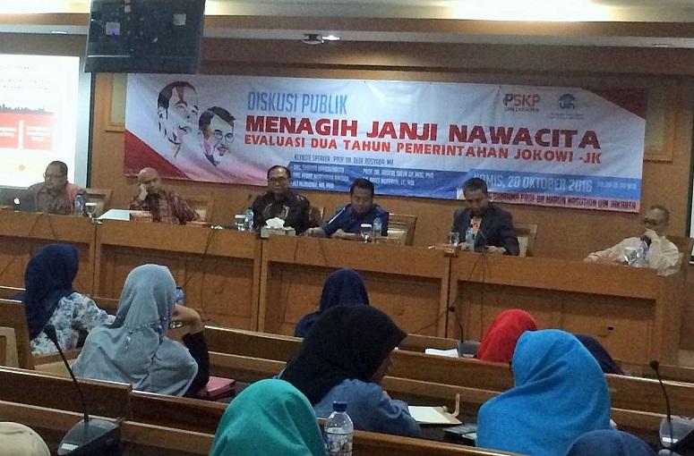 Diskusi 'Menagih Nawa Cita: Evaluasi 2 Tahun Pemerintahan Jokowi-JK' yang digelar oleh Pusat Studi Kebijakan Publik (PSKP) di Ruang Diorama UIN Syarif Hidayatullah, Tangerang Selatan, Kamis (20/10)/Foto Deni/Nusantaranews
