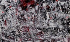 Ibu Pertiwi (65-66 negri ngeri) cat minyak, akrilik, tembok di atas kanvas 120x90cm/Lukisan via lentera-pembebasan.blogspot.co.id