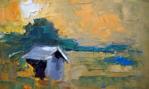Abstract Landscape, Daily Painting, Small Oil Painting, Seeing Better Days by Carol Schiff, 6x8 Oil via carolschiffstudio