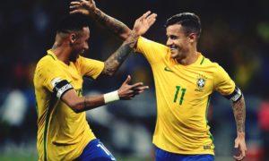 Coutinho dan Naymar usai mencetak gol benamkan Argentina 3-0. Foto Dok. @DaveOCKOP