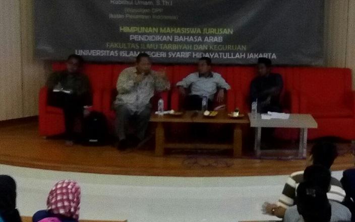 Diskusi publik dan rembuk keprihatinan bertajuk Indonesia Dalam Bahaya: Pancasila atau Khilafah, di UIN Syarif Hidayatullah. Foto Dok. ISTNusantaranews