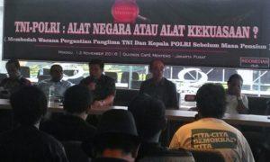 Wakil Ketua Komisi III DPR RI Benny K Harman (Paling Kiri) saat Menjadi salah satu pembicara/Foto Sule/ Nusantaranews