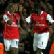 ARSENAL V LIVERPOOL 12/11/2006 Pic Graham Chadwick.......Daily Mail Arsenals William Gallas and Kolo Toure celebrates as score goes to 3-0