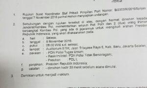 Rujukan Surat Koordinator Staf Pribadi Pimpinan Polri Kepada Para Pejabat Polri. Foto Dok. Nusantaranews