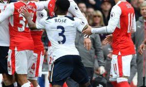 Tampak Pemain Arsenal dan Tottenham bersitegang. Foto via Bicoin Sportsbooks