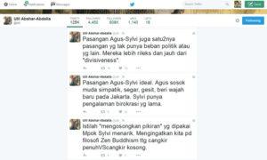 Tweet Ulili Abshar Abdalla soal Agus-Sylvi/Ilustrasi sel-iman/nusantaranews