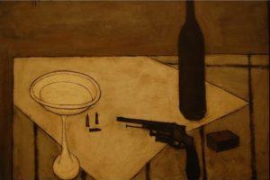 Wine glass the wine bottle bullet match still life/Lukisan Abstrak Bernard/Foto: id.aliexpress.com