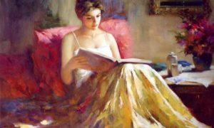 Perempuan sedang baca buku/Istimewa