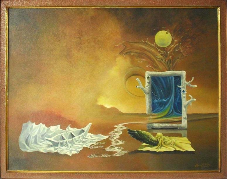 """Bulan di Atas Jendela"" 70 x 90 cm acrilyc on canvas, 2004/Lukisan Wang Arif via wangarif.wordpress.com"