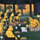 Selain makanan dan minuman, orang hidup membutuhkan ajaran kehidupan. Semar sedang mengajarkan kearifan lokal lewat tembang Macapat di Pendapa Tembi Rumah Budaya. (lukisan Herjaka HS 2012)/Foto: Dok. Tembi.net