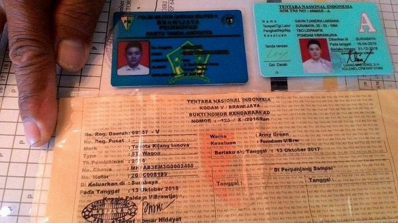 Kartu Anggota TNI palsu yang dimiliki oknom China/Foto Istimewa