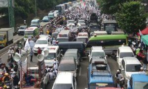 Jalanan Macet Sidang Ahok. Foto Fadilah/Nusantaranews