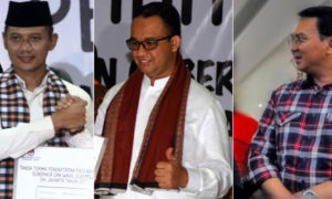 Ketiga calon gubernur DKI Jakarta, Agus, Anies, Ahok. Foto via triaspolitica