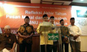 Ketua Umum PBNU KH Said Aqil Siradj saat konpres refleksi akhir tahun di kantor PBNU Jakarta Pusat, Jumat (30/12/2016)./Foto Hatiem/NUSANTARAnews